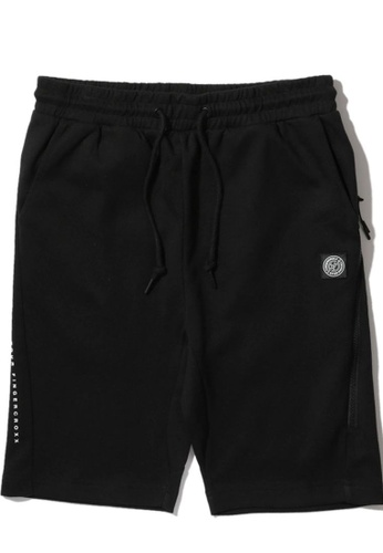 Fingercroxx black Zip pocket straight-Leg  shorts C38D2AA8752907GS_1