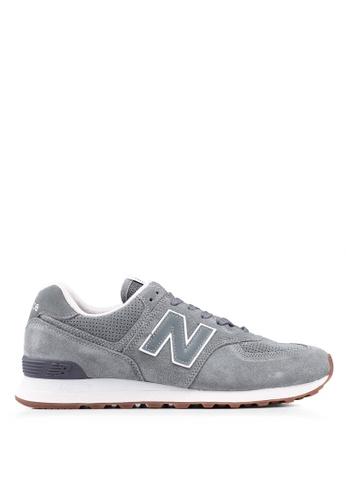 New Balance grey 574 Full Suede Essential Shoes 5683ESH25007ACGS_1