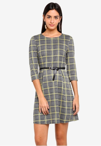ZALORA multi Three Quarter Sleeves Fit And Flare Dress With Belt 606C8AA084E509GS_1