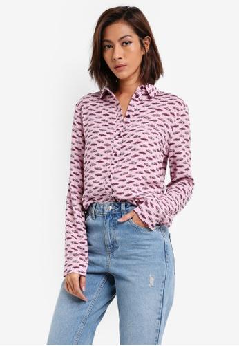 TOPSHOP pink Cadillac Print Casual Shirt TO412AA0SLBRMY_1