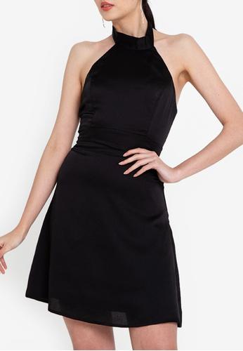 ZALORA OCCASION 黑色 綢緞削肩洋裝 4B569AA2033218GS_1
