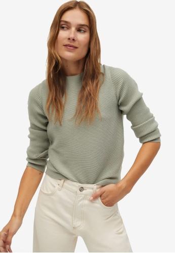 Mango green Crossed Back Sweater 83151AAF99D2B9GS_1