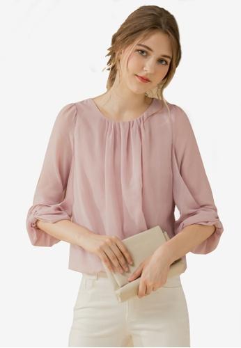Eyescream pink Cuffed Bow Sleeve Blouse 9403CAA0A88F1EGS_1