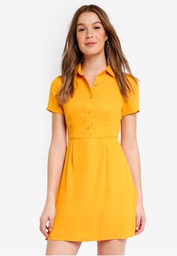 ZALORA BASICS yellow Pleated Shirt Dress F57C0AA245DB1CGS_1