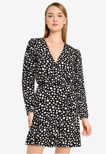 Miss Selfridge black Black Spot Jilly Wrap Dress D6218AA45FE888GS_1
