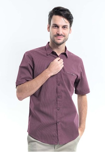 MANLY red MANLY Kerra Maroon Short Sleeve Slim Fit Shirt Plain B65FAAA33C99A9GS_1