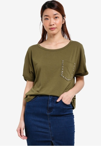 Something Borrowed green Studded Pocket Tee D97A6AA58DA19FGS_1