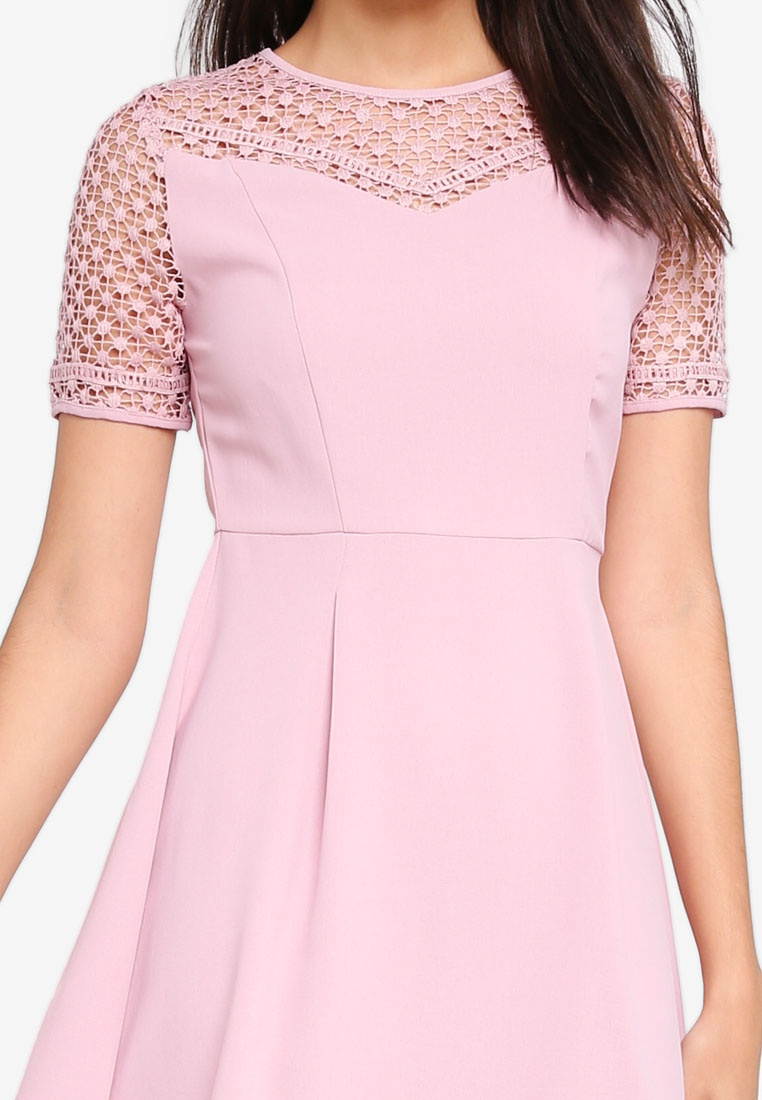Pink Dress Flare And ZALORA Fit Dusty Lace x4qapwzUnY