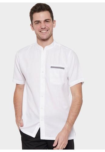 YEGE white YEGE Short Sleeve Henley Solid Shirt 6026 B2D13AAEA5BB96GS_1