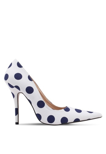 Public Desire white and blue Tease Stiletto Court Heels 05E19SHFA2B6F4GS_1