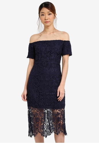Something Borrowed blue and navy Lace Off Shoulder Bodycon Midi Dress C8AE5AA42D6FF8GS_1