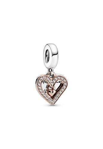 PANDORA silver Pandora Sparkling Freehand Heart Dangle Charm 3734BACFD26A2CGS_1