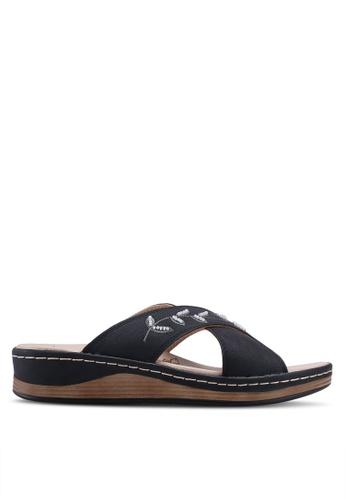 Noveni 黑色 刺繡珠飾涼鞋 26822SH7402740GS_1