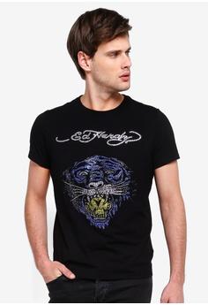 0874acaa2 Ed Hardy black Ed Hardy Moonlight Tiger Rhinestone Embroidered Round Neck  Tee D1C88AA6A15B12GS_1