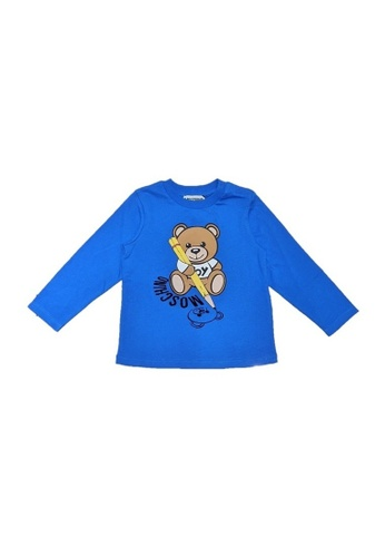 MOSCHINO BABY KID TEEN blue MOSCHINO BABY LONG SLEEVE T-SHIRT BEA80KAC3B0876GS_1