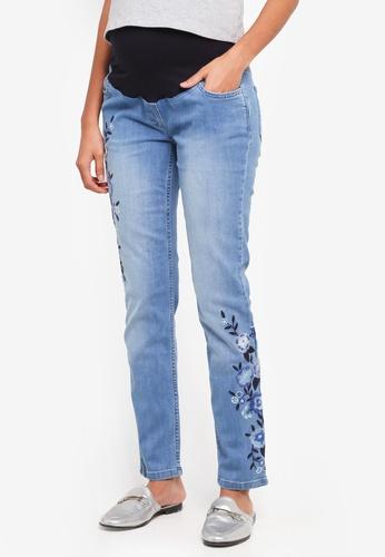 JoJo Maman Bébé navy Maternity Embroidered Slim Jeans B3B2DAA179FC72GS_1