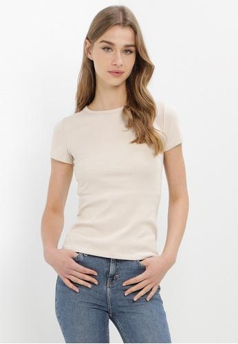 H&M beige Ribbed Cotton T-Shirt E6452AAD0E45A5GS_1