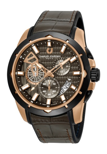 Charles Jourdan brown Charles Jourdan Men CJ1045-1542C Brown Silicone Leather Watch F376AACD9644B3GS_1
