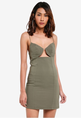 TOPSHOP brown Khaki Deconstructed Bralet Bodycon Dress F57AEAAE57D07BGS_1