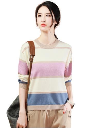 A-IN GIRLS multi Fashion Striped Crew Neck Sweater 8EFC7AA6BEEBDAGS_1