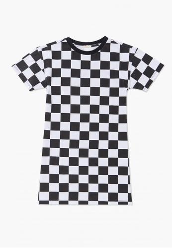 FOREVER 21 white Checkered Print T-Shirt Dress CC630KAA3C225DGS_1