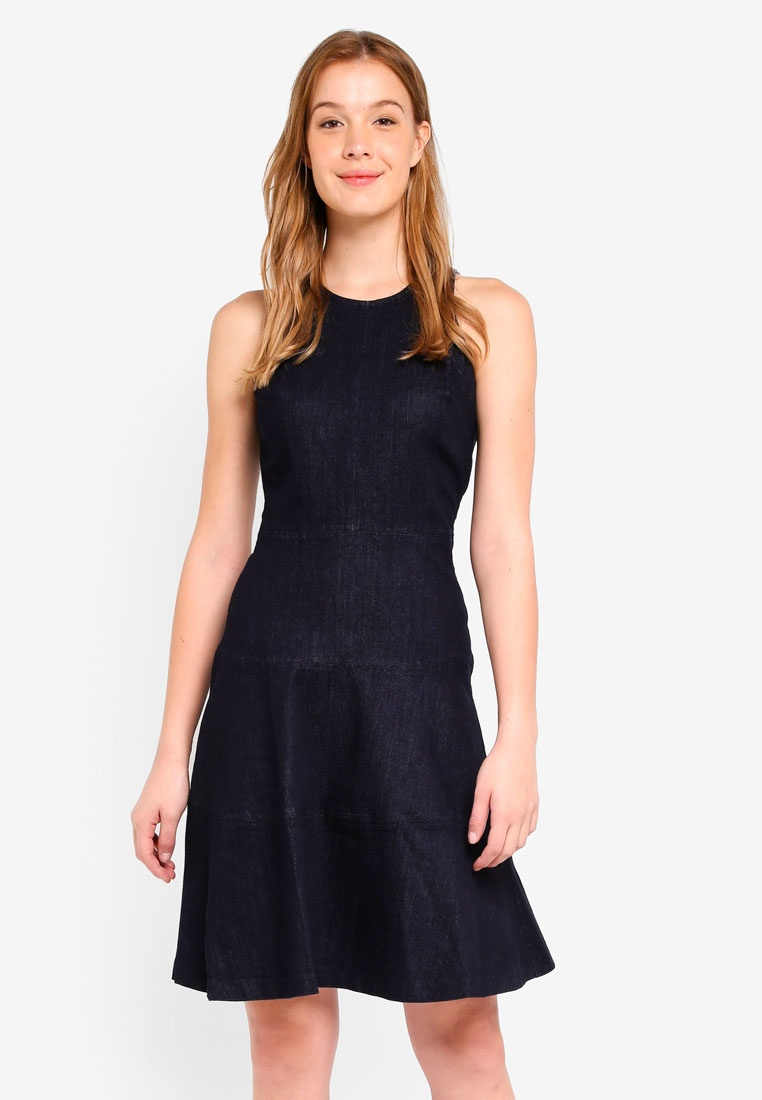 Flare Banana Dress and Denim Republic Denim Dark Sleeveless Fit Paneled fqwIxATST