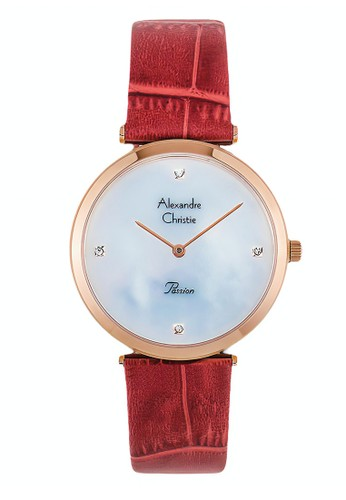 Alexandre Christie red Alexandre Christie Jam Tangan Wanita - Red Rosegold - Leather Strap - 8577 LHLRGMSRE 38AADAC6D32473GS_1