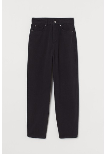 H&M black Ankle-length twill trousers 44BA1AAD908AC9GS_1