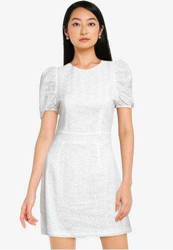 ZALORA BASICS white Eyelet Puff Sleeve Dress A45B0AA4924899GS_1