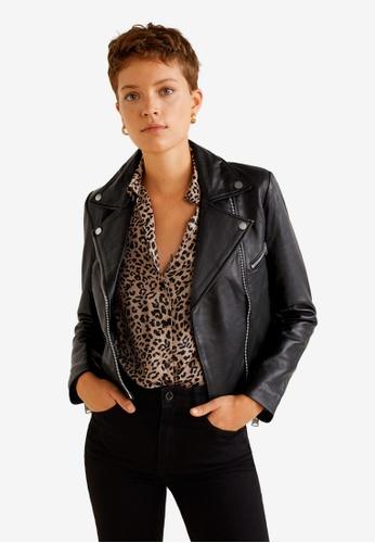 Mango black Leather Biker Jacket C75E8AAAE168D6GS_1