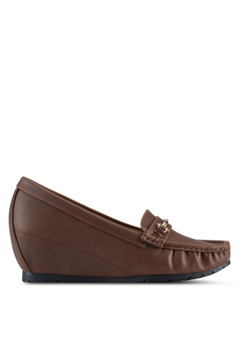 Noveni brown Wedged Loafers NO978SH70VTTMY_1