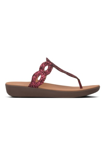 FitFlop red Fitflop Kerstin Glitter Interlace Toe-Thong Lingonberry B79A5SH2B1A5E1GS_1