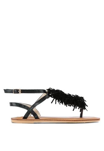 Something Borrowed black Pom Pom Thong Sandals 10A9CSH152C77FGS_1