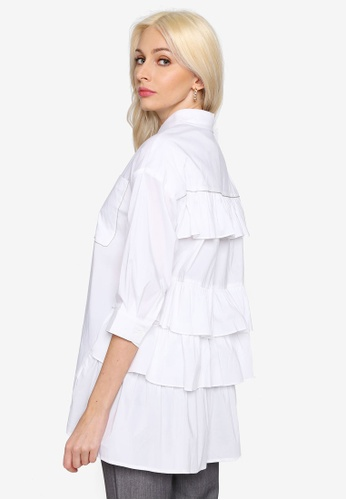 Hopeshow white A-Line Button Blouse with Back Frills 1FA29AA3460917GS_1