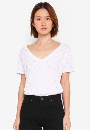 Cotton On white and silver The Deep V Tee 922F1AAF70D2BCGS_1