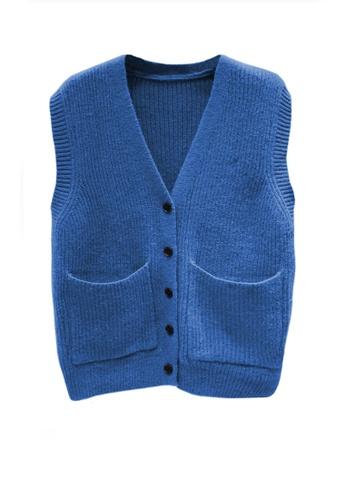 Twenty Eight Shoes blue VANSA Knitted Vest Jacket  VCW-V15856258 221C1AA5C82CF2GS_1