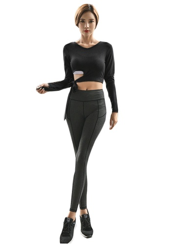 B-Code black ZYG5159-Lady Quick Drying Running Fitness Yoga Sports Top and Leggings Two Pieces Set-Black 30802AA8123C3EGS_1