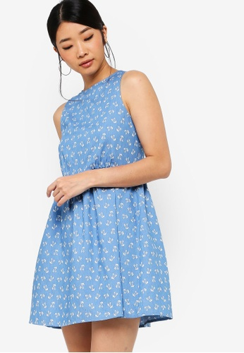 Something Borrowed blue Printed Chambray Mini Dress E568AAA29F17CAGS_1
