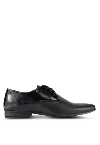 Topman black Patent Derby Shoes TO413SH0T1J7MY_1