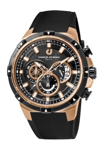 Charles Jourdan black Charles Jourdan Men CJ1041-1532C Black Silicone Watch AA171AC872F27CGS_1