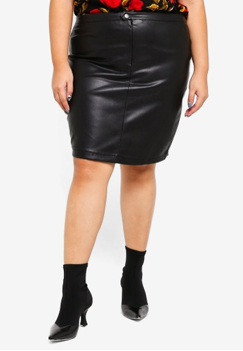 Only CARMAKOMA black Plus Size Sisal Short Skirt F1A16AAD796147GS_1