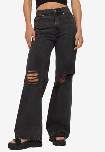 H&M black Wide High Jeans 97A7DAAEBF8C61GS_1