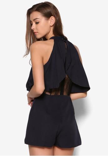 Courtesprit服飾ni 層次蕾絲削肩連身褲, 服飾, 連身褲
