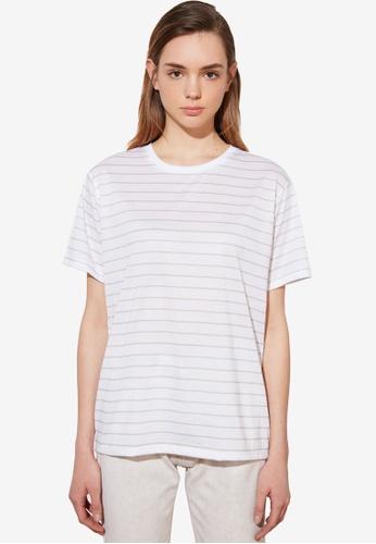 Trendyol beige Boyfriend Striped Knitted T-Shirt BB8A8AA6493477GS_1