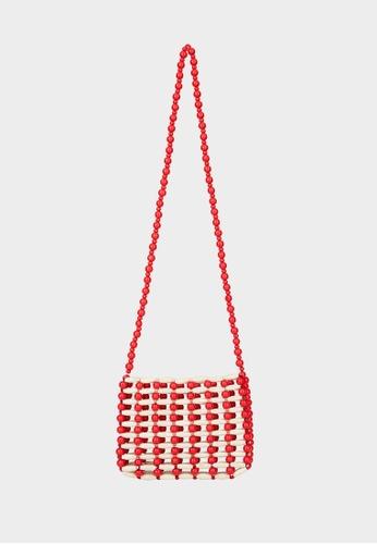 Pomelo red Beaded Square Crossbody Bag - Red 8E6B3AC4347CEBGS_1