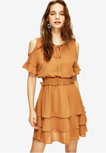 Hopeshow brown Cold Shoulder Tiered Dress 252DEAA62622CCGS_1