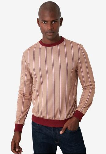 Trendyol 紅色 Striped Sweatshirt F4848AAFF15206GS_1