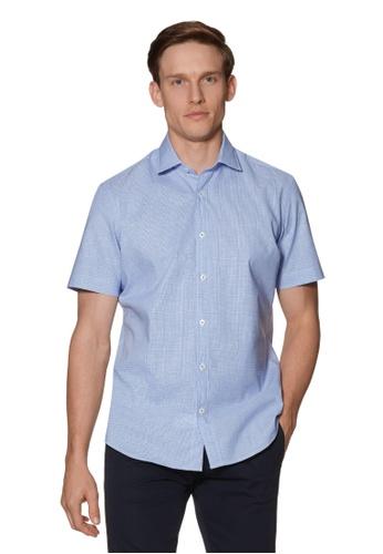 T.M. LEWIN blue T.M.Lewin Short Sleeve Dogtooth Cotton Linen Blue Shirt 48A88AA0B43413GS_1