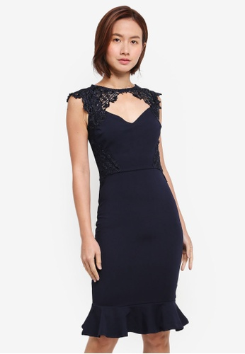 Lipsy navy Navy Side Sequin Lace Choker 5BB4AAA9046AD2GS_1