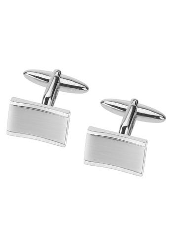 CUFF IT silver Plain Metal Brushed Rhodium Cufflinks CU047AC29SIGHK_1